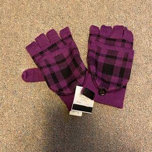 Coach Signature Plaid Purple Mittens